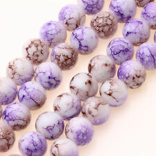 Wholesale 25/50Pcs Charms Round Purple Glass Beads Jewelry Findings DIY 8mm