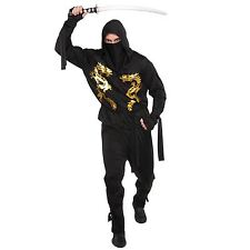 Mens Ninja Warrior Fancy Dress Costume Japanese Adult Costume Martial Outfit