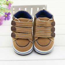 Toddler Baby boy brown Velcro crib shoes Sports shoes size 0-6 6-12 12-18 Months