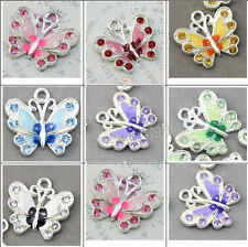 5/20/50Pcs Chic Silver Plated Enamel Crystal Butterfly Charms Pendants 22X20MM
