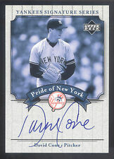 2003 Upper Deck Yankees Pride Of New York #CO David Cone On Card Autograph