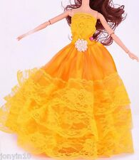 Fashion Handmade Barbie Party Gold Clothes/Dress/Skirt/Gown For Barbie Doll 45