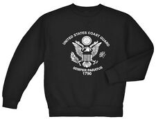 US Coast Guard sweatshirt Men's black crew neck USCG eagle semper paratus 1790
