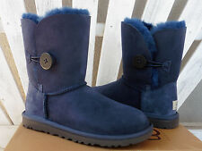UGG Navy Bailey Button Sheepskin Boots Short Classic Sizes 6 7 8 New $165
