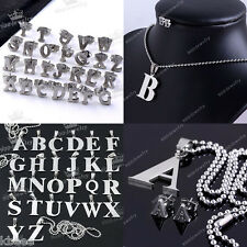 Pick Stainless Steel Alphabet Letters A-Z Bead Ear Studs Pendant Chain Necklace