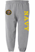US Navy sweatpants Men's size gray yellow sweat pants sweats track suit USN