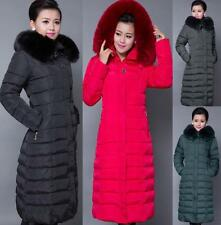 Hot Womens Winter Long Jacket Cotton Blend Hooded Outwear Parka Long Warm Coats
