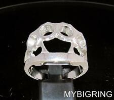 STERLING SILVER MEN'S HIP HOP GANGSTER RING BRASS KNUCKLE DUSTER KNUCKS ANY SIZE