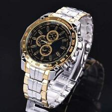 Trendy Mens Quartz Analog Dial Watches Leisure Wrist Watch Stainless Steel Band
