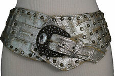 Women Belt Silver Faux Leather Wide Hip Western Fashion Metal Studs Buckle S M L