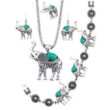 Antique Silver Plated Necklace Bracelet Earring Elephant Turquoise Jewelry Sets