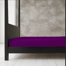 NEW Aubergine Plain Dyed Sheet - Fitted Flat Base Fitted Valance Sheet All Sizes
