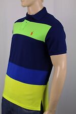 Polo Ralph Lauren Navy Green Yellow Striped Custom Fit Mesh Shirt NWT