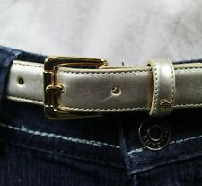 Ralph Lauren Womens Platino Silver Leather Skinny Belt NWT