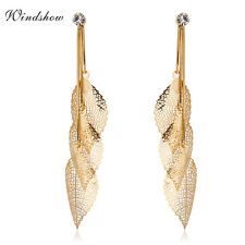 Pretty Triad Chains Link Crystal & Reticulate Vein Leaf Tassel Drop Earrings