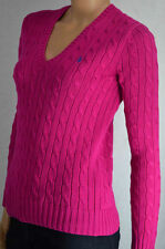 Ralph Lauren MAGENTA PINK CABLE KNIT V-NECK SWEATER NWT