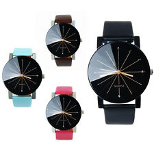 1PC Lovers Watch Round Dial Leather Casual Watch Analog Quartz Wrist Watch Gifts