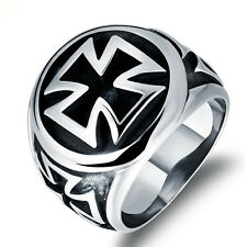 Fashion Mens Jewelry Cross 316L Stainless Steel Ring Sz 8-11 BJ218
