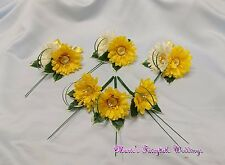 WEDDING FLOWERS YELLOW GERBERA GUEST GROOM BUTTONHOLE LADIES CORSAGE PACKAGE