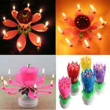 Romantic Musical Lotus Flower Rotating Happy Birthday Party Candle Lights FT05