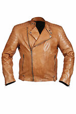 Hampton New Mens Casual Collerless Retro Biker Jacket 100% Tan Nappa Leather