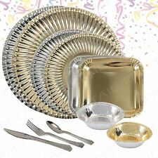 Gold & Silver Paper Plates & Bowls+CUTLERY+Party Tableware Birthday/Buffet/Event
