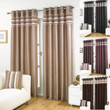 Black Cascada LINED EYELET HEAVY Curtains in 4 Sizes