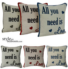 All You Need Is Love Chenille Cushion Covers / Filled Cushions in 3 Colours