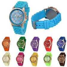 Women Unisex Geneva Watches Silicone Band Dress Watch Analog Quartz Wrist Watch