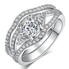 women 925 Sterling silver Bridal wedding couple engagement ring sets for her R02