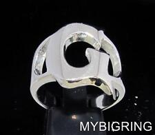 STERLING SILVER MEN'S INITIAL RING ONE 1 BOLD CAPITAL BLOCK LETTER G ANY SIZE