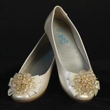 Girls IVORY Dress SHOES Flats Bow & Crystal Cluster Adornment On Toe Size 9-4
