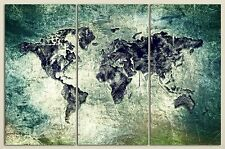 3 Panel Split Art World Map Canvas Print Triptych, for home/office wall decor
