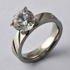 Hot selling Womens Men's Stainless Steel Clear CZ Ring Size 6 7 8 9