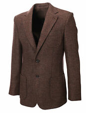 MENS HERRINGBON​E WOOL BLAZER JACKET WITH ELBOW PATCHES sz S,M,L,XL BJ902BR