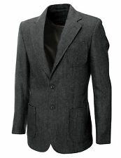 MENS HERRINGBON​E WOOL BLAZER JACKET WITH ELBOW PATCHES sz S,M,L,XL BJ902GR