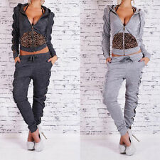 Women Casual Leopard Sweatshirt Hoodie Zipper Jacket+Pencil Pants Sport Suit