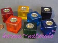 1 Mini Ritual Chime CANDLE HOLDER - Made of Glass & Metal - In Your Color Choice