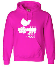 Pink hoodie sweatshirt woodstock men's size sweat-shirt peace music hoodie