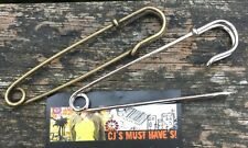 ✿ 5 SILVER BRONZE LARGE 70MM KILT SAFETY FINDINGS BROOCH PINS FOR SCARF KNITTING