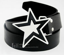 Black & White Five-Pointed Star Buckle Mens boys Women Buckle Leather Belt