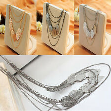 Women's Multi-layered Tassels Long Alloy Necklace Hollow Leaves Shape Coat Chain