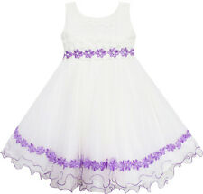 Flower Girl Dress Tulle Lace Embroidered Flower Trim With Beading Size 4-10