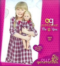 Our Generation Me & You Plaid Dress for Girl and 18 inch Doll Matching Set NEW