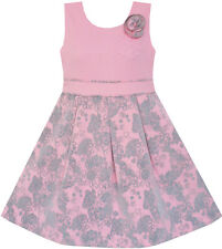 Girls Dress Princess Worsted Winter Christmas Flower Pink Size 4-10