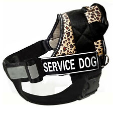 Leopard Reflective Service Dog Harness Vest Removable Chest Plate & Patches
