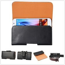 7 Size Universal Horizontal Man's PU Leather Holster Pouch Case W/ Belt Clip