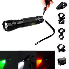 White/Green/Red LED Tactical Flashlight+Remote Switch+Rail Mount for Rifle
