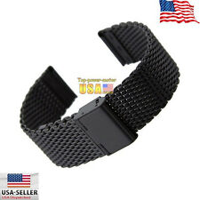 Black Stainless Steel Bracelet Strap Watch Mesh Replacement Band 20 22 24 mm