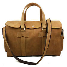 """Genuine Leather 19"""" Carry-On Duffle Bag Overnight Luggage Suitcase Tote Brown"""